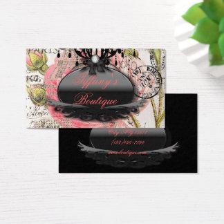 Girly Pink floral vintage Paris fashion salon Business Card