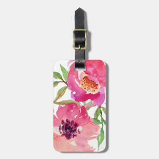 Girly Pink Floral Watercolor Custom Luggage Tag
