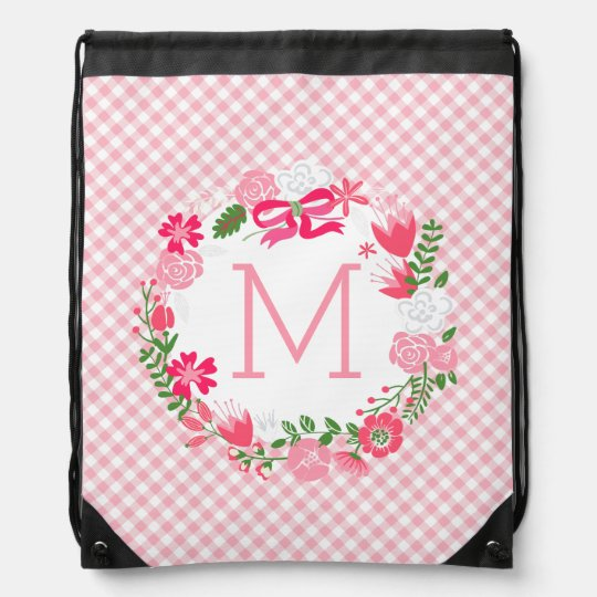 Girly Pink Floral Wreath Personalized Monogram Drawstring Bags