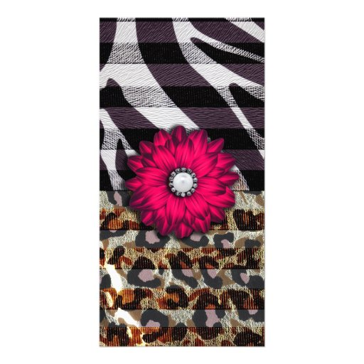 Girly Pink Flower on Cheetah Zebra Print Picture Card