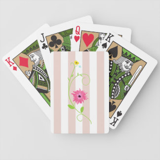 Girly Pink Flowers And Stripes Poker Deck