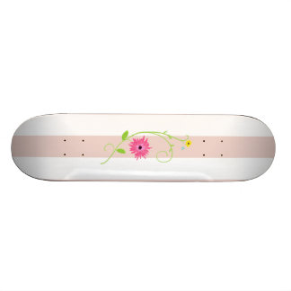Girly Pink Flowers And Stripes Skate Decks