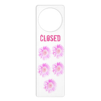 Girly pink flowers Closed Door Hanger