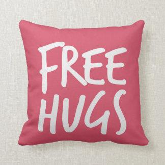 Girly Pink Free Hugs Throw Pillow