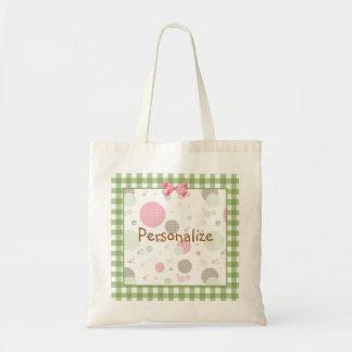 Girly Pink Gingham Pattern Circles Cute Daisies