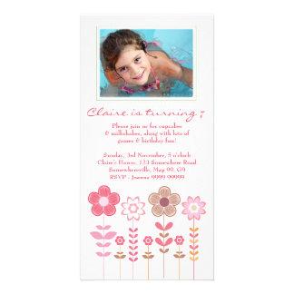 Girly Pink Girls Birthday Photo Card Template
