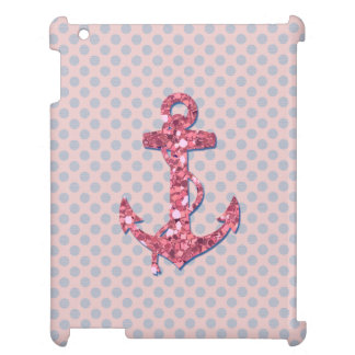 GIRLY PINK GLITTER ANCHOR DOTS PATTERN iPad CASES