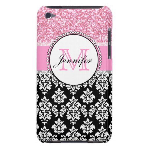 Girly, Pink, Glitter Black Damask Personalized Barely There iPod Cases