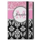 Girly, Pink, Glitter Black Damask Personalized iPad Mini Case