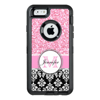 Girly, Pink, Glitter Black Damask Personalized OtterBox iPhone 6/6s Case