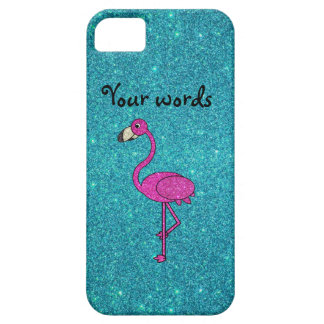 Girly Pink glitter flamingo turquoise glitter Case For The iPhone 5