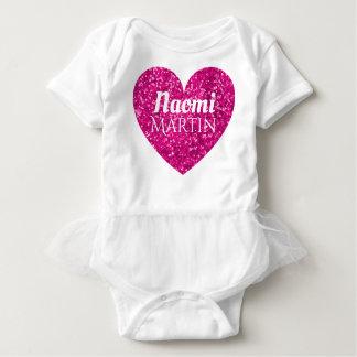 Girly Pink Glitter Heart Monogram Name Baby Bodysuit