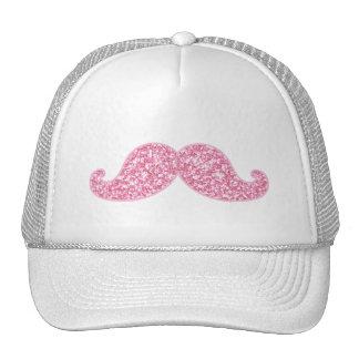 GIRLY PINK GLITTER MUSTACHE PRINTED TRUCKER HATS