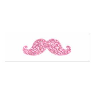GIRLY PINK GLITTER MUSTACHE PRINTED PACK OF SKINNY BUSINESS CARDS