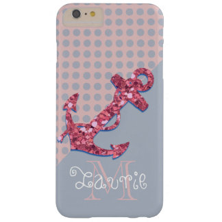 GIRLY PINK GLITTER NAUTICAL ANCHOR BARELY THERE iPhone 6 PLUS CASE