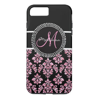 Girly Pink Glitter Printed Black Damask Monogram iPhone 7 Plus Case