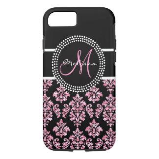 Girly Pink Glitter Printed Black Damask Monogram iPhone 8/7 Case