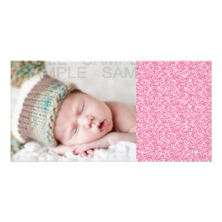 Girly Pink Glitter Printed Photo Card Template