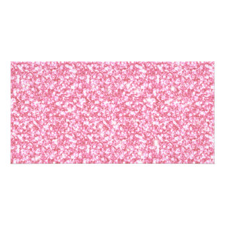 Girly Pink Glitter Printed Personalized Photo Card
