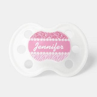 Girly, Pink Glitter, Zebra Stripes Personalized Pacifier