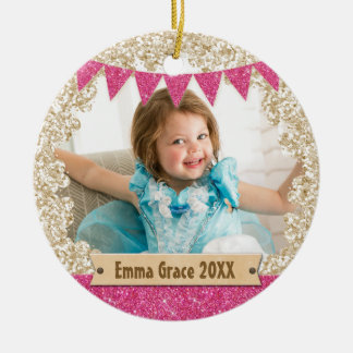Girly Pink Gold Glitter Custom Photo Monogram Round Ceramic Ornament