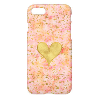 Girly Pink Gold Watercolor Confetti Heart iPhone 8/7 Case