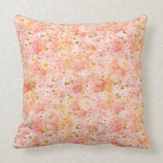 Girly Pink Gold Watercolor Confetti Splatters Throw Pillow