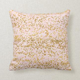 Girly Pink Gold White Confetti Throw Pillow