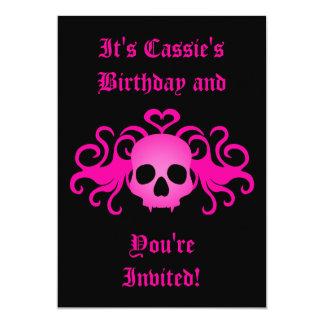 "Girly pink goth fanged vampire skull on black 5"" x 7"" invitation card"