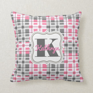 Girly Pink & Gray Abstract w/Personalization Throw Pillow