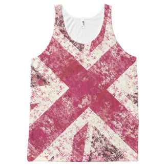 Girly pink  grunge Union Jack All-Over-Print Tank Top