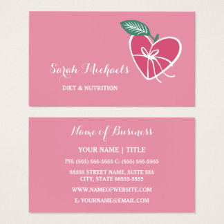 Girly Pink Heart Apple With Bow Diet and Nutrition Business Card