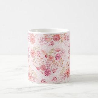 Girly Pink Heart Floral Watercolor Flower Mug