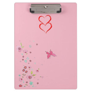 Girly pink hearts and flowers Clip board