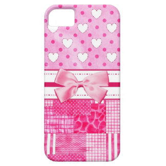 Girly Pink Hearts and Polka Dots Cute Bow and Name iPhone 5 Cases