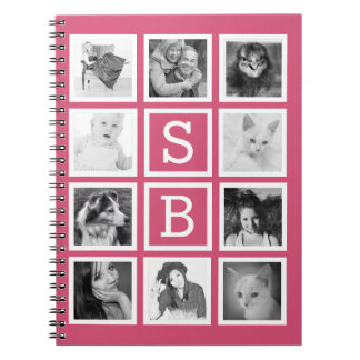 Girly Pink Instagram Pics with Initials for her Notebooks