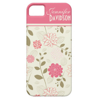 Girly Pink Ivory Tan Floral Monogram iPhone5 iPhone 5 Cases