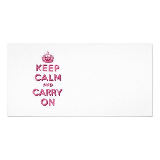 Girly Pink Keep Calm and Carry On Photo Card Template
