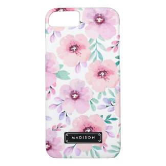 Girly Pink Lavender Watercolor Floral Custom iPhone 8/7 Case