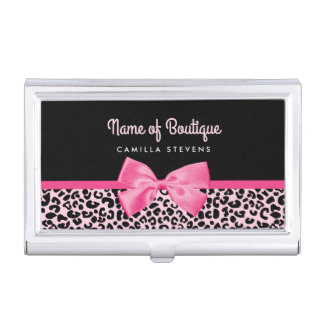 Girly Pink Leopard Print Cute Bow Beauty Boutique Case For Business Cards