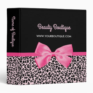 Girly Pink Leopard Print Cute Bow Beauty Boutique Vinyl Binder