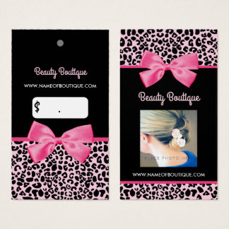 Girly Pink Leopard Print Cute Bow Photo Pricetag Business Card