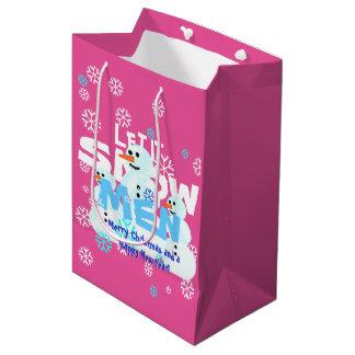 Girly Pink Let It Snow Men Snowmen Tacky Christmas Medium Gift Bag