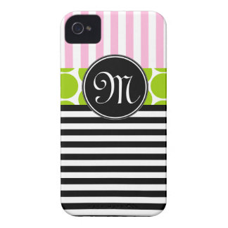 GIRLY PINK LIME GREEN BLACK STRIPES iPHONE 4 CASE