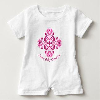 Girly pink maroon damask motif baby romper