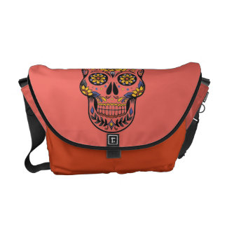 GIRLY PINK MEXICAN SKULL, DIA DE LOS MUERTOS BAG COMMUTER BAGS