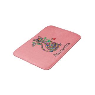Girly Pink Millefiori Cat & Red Rose Custom Name Bath Mat
