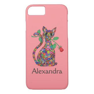 Girly Pink Millefiori Cat & Red Rose Custom Name iPhone 8/7 Case