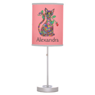Girly Pink Millefiori Cat & Red Rose Custom Name Table Lamp