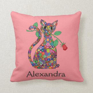 Girly Pink Millefiori Cat & Red Rose Custom Name Throw Pillow